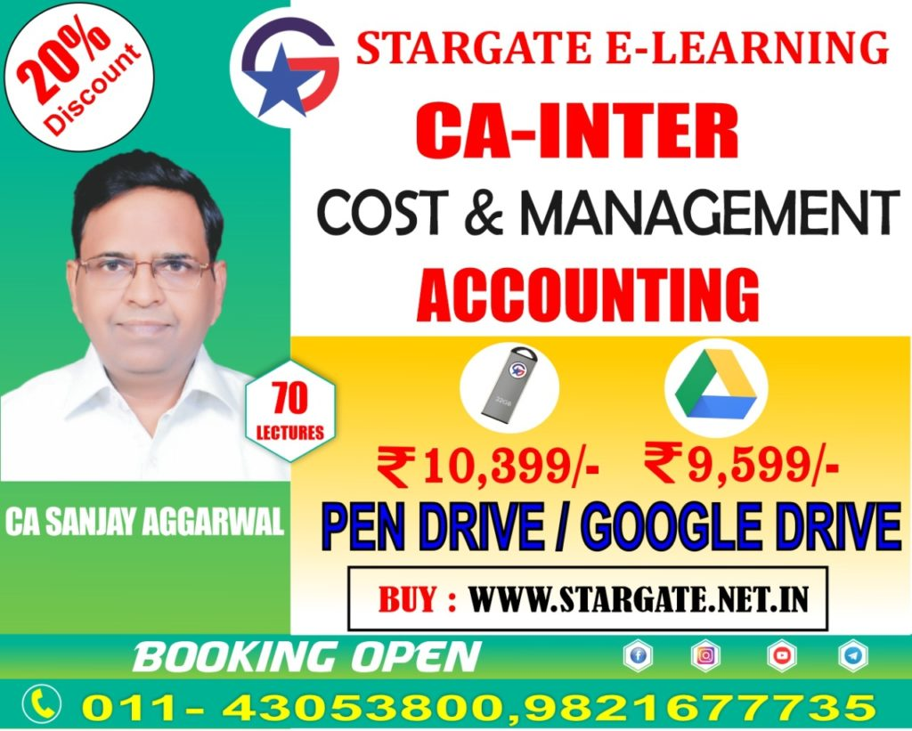 CA INTERMEDIATE COST & MANAGEMENT ACCOUNTING FULL COURSE VIDEO LECTURE BY CA SANJAY AGGARWAL (PEN DRIVE)